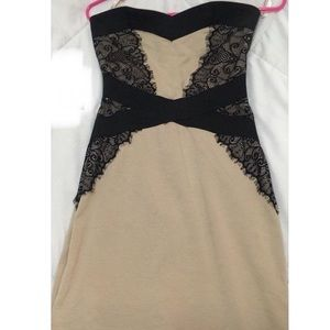 Dresses & Skirts - Nude & black lace strapless dress